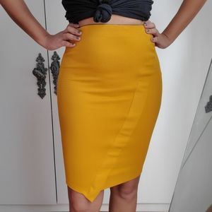 ZARA yellow pencil skirt bodycon skirt